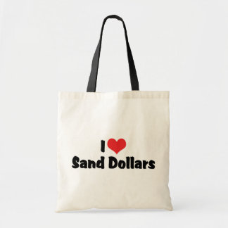 I Love Heart Sand Dollars Budget Tote Bag