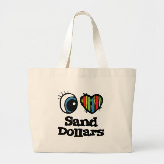 I Love (Heart) Sand Dollars Jumbo Tote Bag