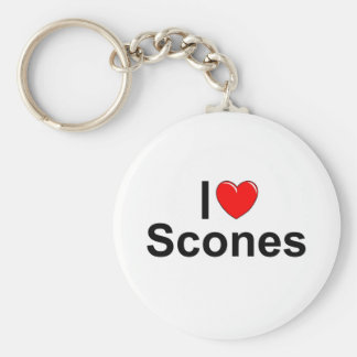 I Love (Heart) Scones Basic Round Button Key Ring
