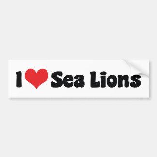 I Love Heart Sea Lions Bumper Sticker