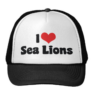 I Love Heart Sea Lions Cap