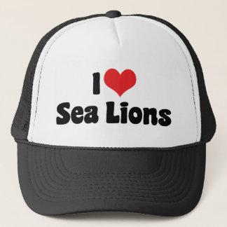 I Love Heart Sea Lions Trucker Hat