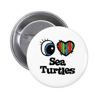 I Love (Heart) Sea Turtles 6 Cm Round Badge