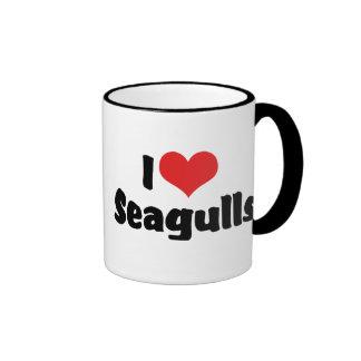 I Love Heart Seagulls - Bird Lover Ringer Mug