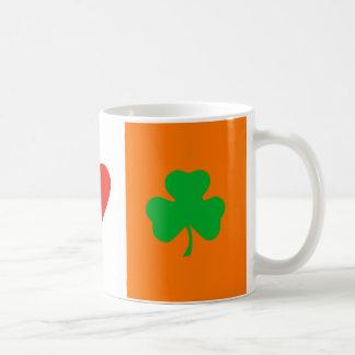 I Love Heart Shamrocks Ireland Flag Cup Basic White Mug