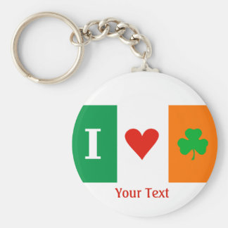 I Love Heart Shamrocks Ireland Flag Keyring Basic Round Button Key Ring