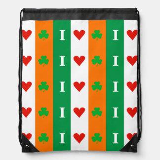 I Love Heart Shamrocks Ireland Rucksack