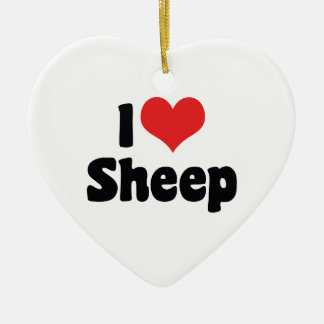 I Love Heart Sheep Christmas Ornament