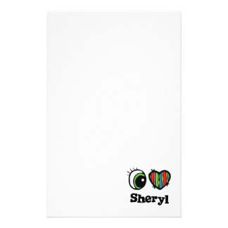 I Love (Heart) Sheryl Personalized Stationery