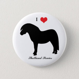 I love heart shetland ponies, button, pin, gift 6 cm round badge