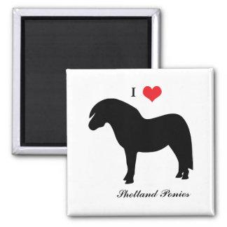 I love heart shetland ponies, fridge magnet, gift square magnet