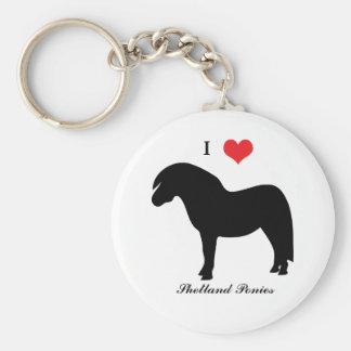 I love heart shetland ponies, keychain, gift idea basic round button key ring
