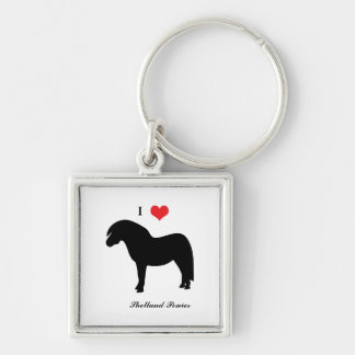 I love heart shetland ponies, keychain, gift idea Silver-Colored square key ring