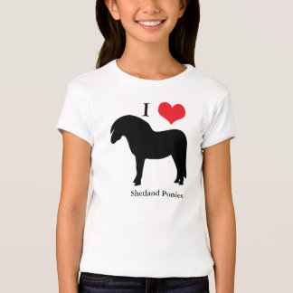 I love heart shetland ponies kids, girls t-shirt