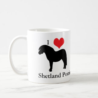 I love heart shetland ponies, mug, gift idea coffee mug