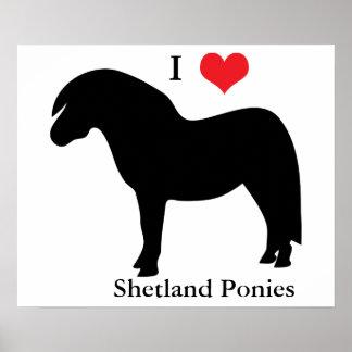 I love heart shetland ponies, poster, gift idea poster