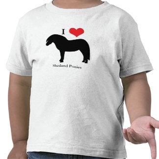 I love heart shetland ponies toddlers kids t-shirt