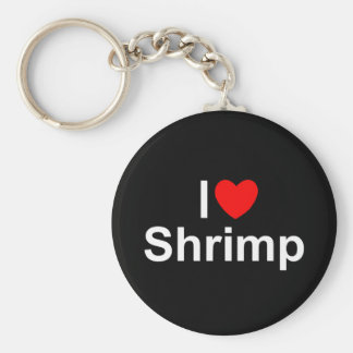 I Love (Heart) Shrimp Basic Round Button Key Ring