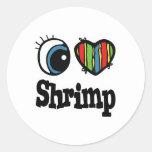I Love (Heart) Shrimp Stickers