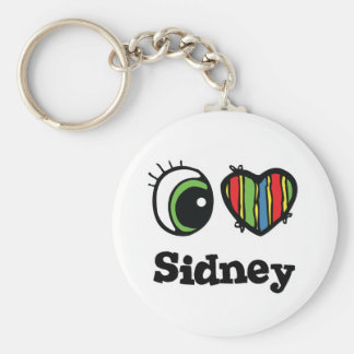 I Love (Heart) Sidney Basic Round Button Key Ring