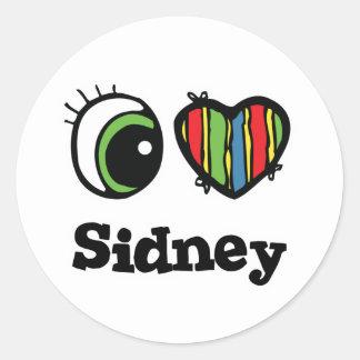 I Love (Heart) Sidney Round Sticker