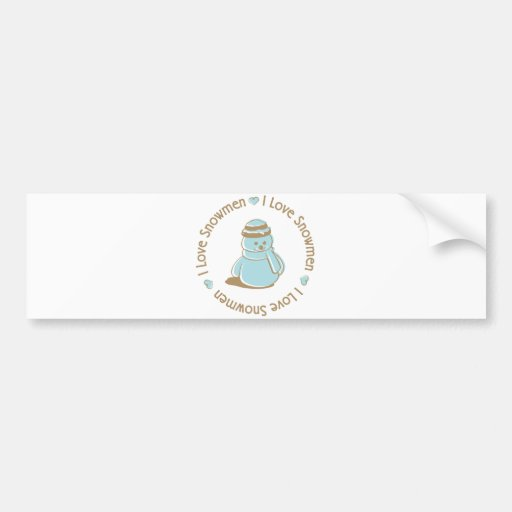 I Love Heart Snowmen Cute Christmas Design Bumper Sticker