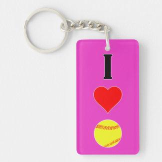 I Love (Heart) Softball Fastpitch Softball Keyring