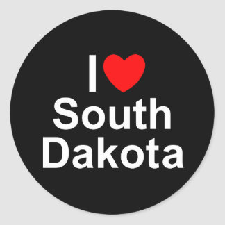 I Love (Heart) South Dakota Round Stickers