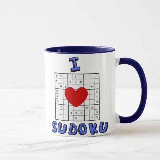I Love Heart Sudoku Puzzle Coffee Mug