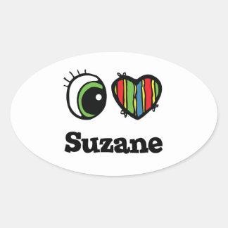 I Love (Heart) Suzane Oval Sticker