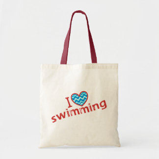 I love (heart) Swimming Budget Tote Bag