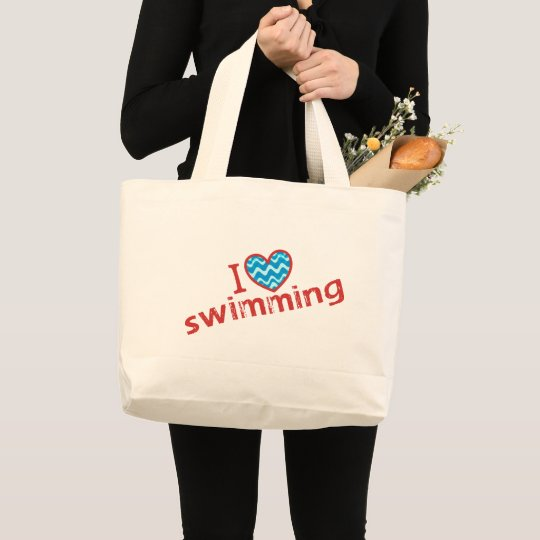 I love (heart) Swimming Jumbo Tote Bag