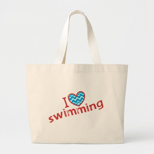 I love (heart) Swimming Jumbo Tote Bag