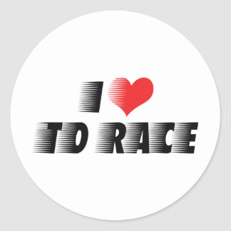 I Love Heart To Race - Car Motorcycle Racing Lover Round Sticker