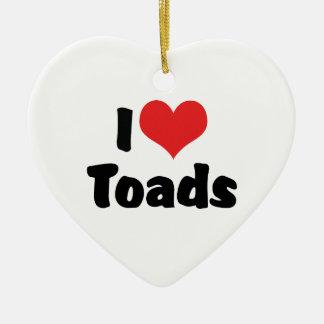I Love Heart Toads Ceramic Heart Decoration