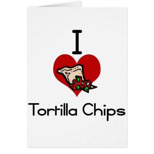 I love-heart tortilla chips greeting card