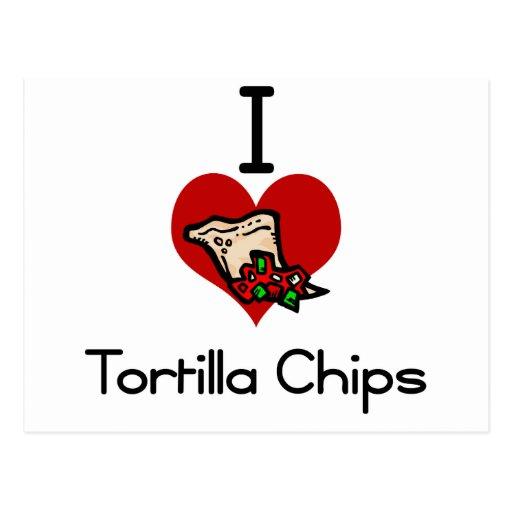 I love-heart tortilla chips postcard