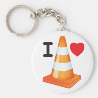 I Love Heart Traffic Cones Road Markers Roadworks Key Ring