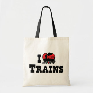 I Love Heart Trains - Model Train Lover Budget Tote Bag