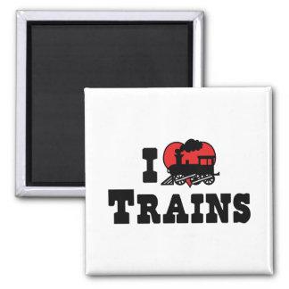 I Love Heart Trains - Model Train Lover Square Magnet