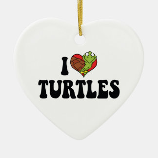 I Love Heart Turtles Christmas Ornament
