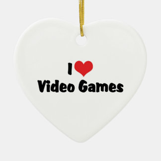 I Love Heart Video Games - Video Game Lover Ceramic Heart Decoration