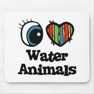 I Love (Heart) Water Animals Mouse Mat