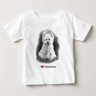 I Love (Heart) Westies: Pencil Drawing Baby T-Shirt