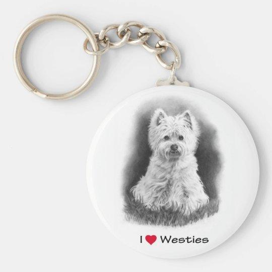 I Love (Heart) Westies: Pencil Drawing Key Ring