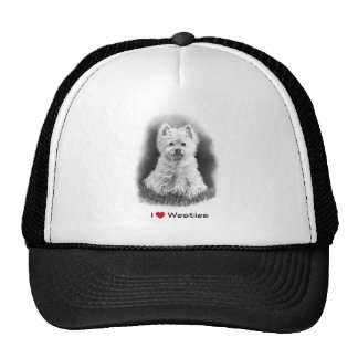 I Love (Heart) Westies: Pencil Drawing, Realism Mesh Hat