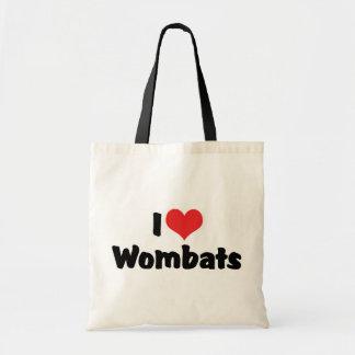 I Love Heart Wombats Budget Tote Bag