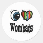 I Love (Heart) Wombats Round Sticker
