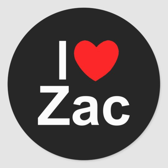 I Love (Heart) Zac Classic Round Sticker
