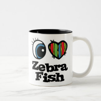 I Love (Heart) Zebrafish Two-Tone Coffee Mug